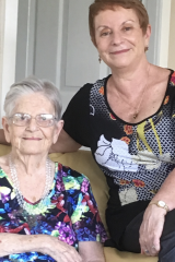 Former NSW deputy police commissioner Rosemary Milkins, right, gave evidence about caring for her mother Dorothy Urch, left, who lived at home for 17 years after a diagnosis of dementia.