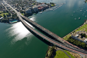The incident took place on the Iron Cove Bridge in Drummoyne.