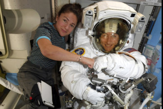 NASA astronauts Christina Koch, right, and, Jessica Meir on the International Space Station.