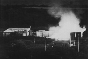A house on fire in Aramoana during the  rampage.