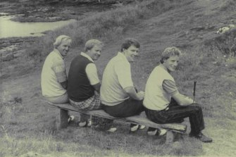 Greg Norman, Jack Nicklaus, Andy Bean and Bernard Langer, take a break during practice for the British Open on July 16, 1986.