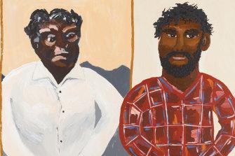 A spread from <i>Albert Namatjira</i> by Vincent Namatjira (Magabala Books).
