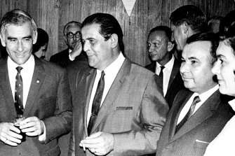 L - R: Immigration Minister, Billie Snedden, Mr Karel Franc, the President of the Prague Soccer club, Mr. Horner & Mrs Franc,  May 14, 1969.