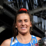 No laughing matter: Swifts captain Maddy Proud will be hoping to hold the Super Netball trophy again in a few months' time.