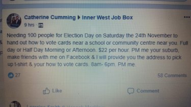 Catherine Cumming's job ad for paid, election day 'volunteers'.