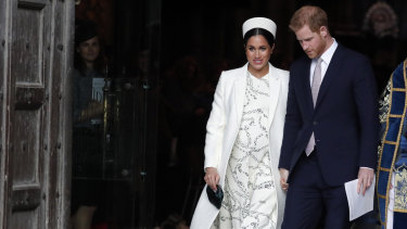 Meghan, the Duchess of Sussex and Prince Harry leave after attending the Commonwealth Service at Westminster Abbey on Commonwealth Day in London, last month.