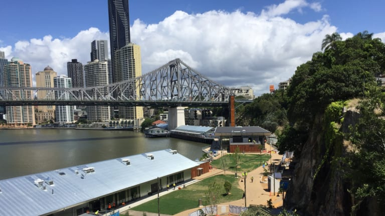 The Story Bridge looks over Howard Smith Wharves and the rest of the city.
