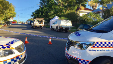 The crime scene at the top end of Junction Terrace near Ipswich Road in Annerley where the man died.