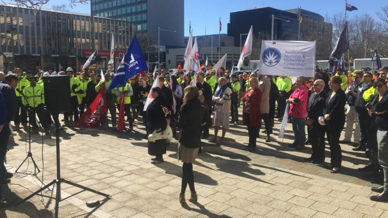 Unions like the CFMEU and the Transport Workers' Union marched on the Assembly.