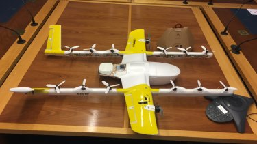 Project Wing brought one of their drones to the ACT government committee hearing on drones on Wednesday.