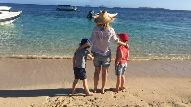 Jacinta with her children on Castaway Island in Fiji, June 2016.