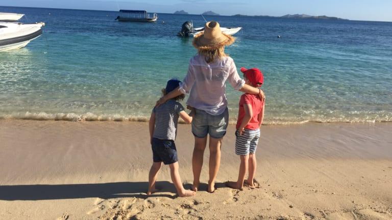 Jacinta with her children on Castaway Island in Fiji, June 2016.
