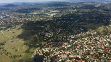 An aerial view of Canberra from the specialist intelligence-gathering helicopter.