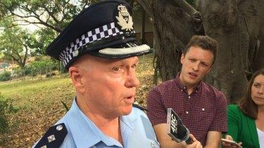 Inspector Tony Ridge speaks to media during the Coronation Drive standoff.