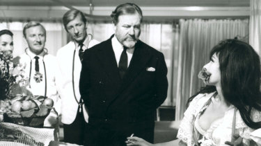 Doctor in Clover (1966) Leslie  Phillips (left), Jeremy Lloyd and James Robertson Justice and Fenella Fielding.