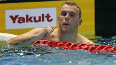 Renewed confidence: Kyle Chalmers enjoys victory in the men's 100m freestyle final.
