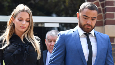 Dylan Walker and Alexandra Ivkovic leave Manly Local Court hand in hand after his AVO and  assault charges were heard.