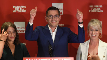 Victorian Premier Daniel Andrews on election night, when he called his government the most progressive in the nation.