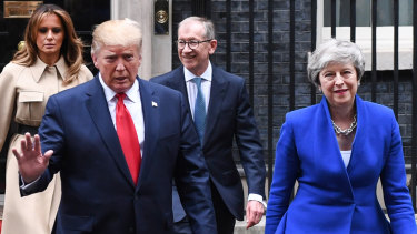 US first lady Melania Trump, US President Donald Trump, British Prime Minister Theresa May's husband Philip, and Mrs May on Tuesday.