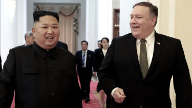 North Korean leader Kim Jong-un and US Secretary of State Mike Pompeo ahead of their meeting in Pyongyang in October 2018.