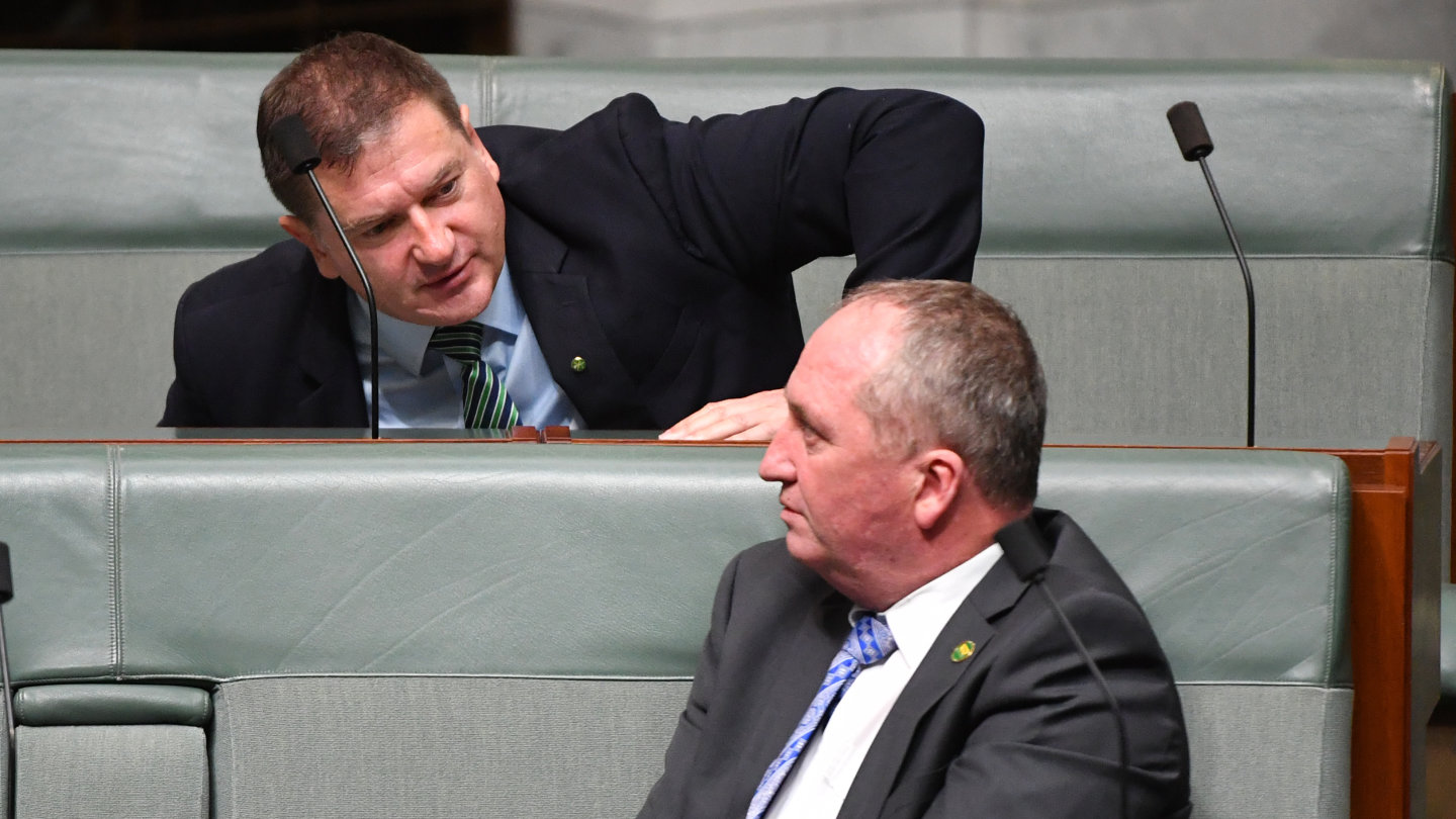Nationals Member for Wide Bay Llew O'Brien and Nationals member for New England Barnaby Joyce during Question Time in the House of Representatives at Parliament House in Canberra on Monday.