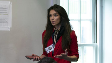 One America News Network reporter Chanel Rion in the White House briefing room.