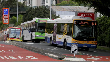 Buses on the Eastern Busway at Woolloongabba.