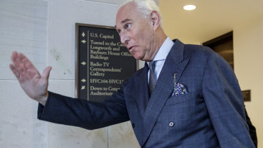 President Donald Trump associate Roger Stone arrives to testify before the House Intelligence Committee, on Capitol Hill in Washington in 2017.