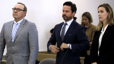 Actor Kevin Spacey stands beside attorney Alan Jackson at a pre-trial hearing on Monday.