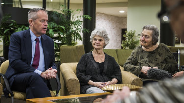 Bill Shorten with residents of Goodwin Aged Care in Canberra last year.