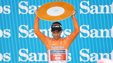 Riding high: Richie Porte celebrates on the podium after winning the overall title in the Tour Down Under.