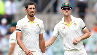 Criticism: Shane Warne has hit out at Australia's pacemen including Mitchell Starc (left), while praising Pat Cummins as a future skipper.