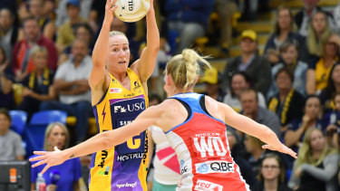 Lightning's Laura Langman (left) in action against the Swifts in last month's semi-final.