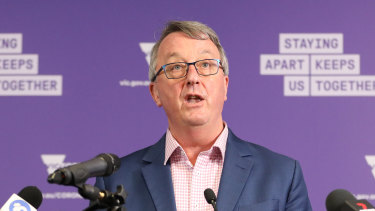 Hold on, that's not Dan: Health Minister Martin Foley delivered Saturday's coronavirus briefing.