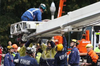 Rescuers took four hours to free Ann Bodkin from the wreckage of the Pyne Gould Corporation building.