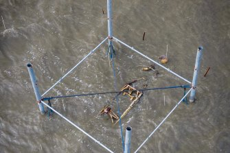 Wreckage of theCAC Wirraway A20 WWII plane that was forced to ditch in Lake Corangamite.