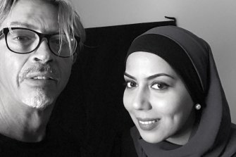 Artist Angus McDonald with sitter Mariam Veiszadeh.