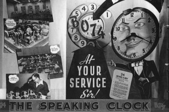 Posters for the talking clock in 1954.
