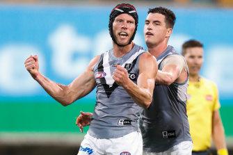 Brad Ebert kicks a goal for Port Adelaide.
