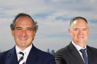 Orocobre CEO Martin Perez De Solay (left) and Galaxy CEO Simon Hay at Galaxy's office in Perth after finalising details about their $4b merger.