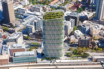 An artist's impression of Atlassian's 40-storey headquarters to be built near Sydney's Central Station.
