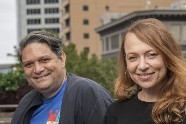 Outgoing Sydney Festival artistic director Wesley Enoch and incoming artistic director Olivia Ansell.