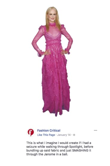 Fashion Critical's take on Nicole Kidman's dress at January's Critics' Choice Awards.