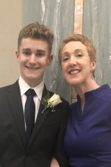 Megan Gilmour with her son Darcy, at his Year 12 formal.