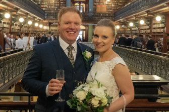 ATO whistleblower Richard Boyle marries fiance Louise Beaston in Adelaide.