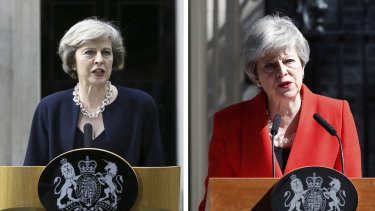 Theresa May on the day she became British Prime Minister (left) and announcing her resignation (right).