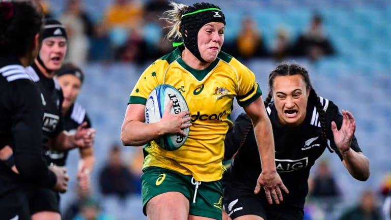 Worn with pride: Emily Chancellor in the Wallaroos jersey during Australia's clash with the Black Ferns in August.