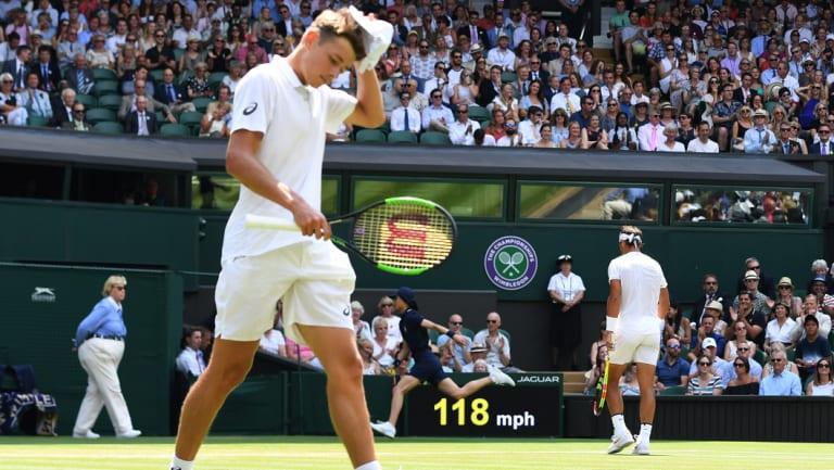 Toweled up: De Minaur has faced Rafa Nadal once before, at Wimbledon.