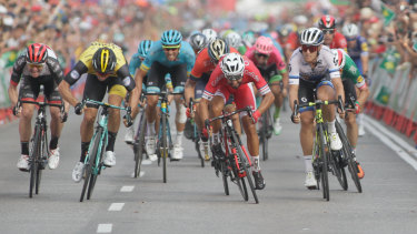 Nacer Bouhanni (Cofidis, centre) wins the sixth stage at the Vuelta.