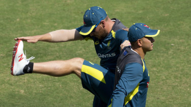 Finch (left) and Usman Khawaja could open for Australia at the upcoming World Cup.